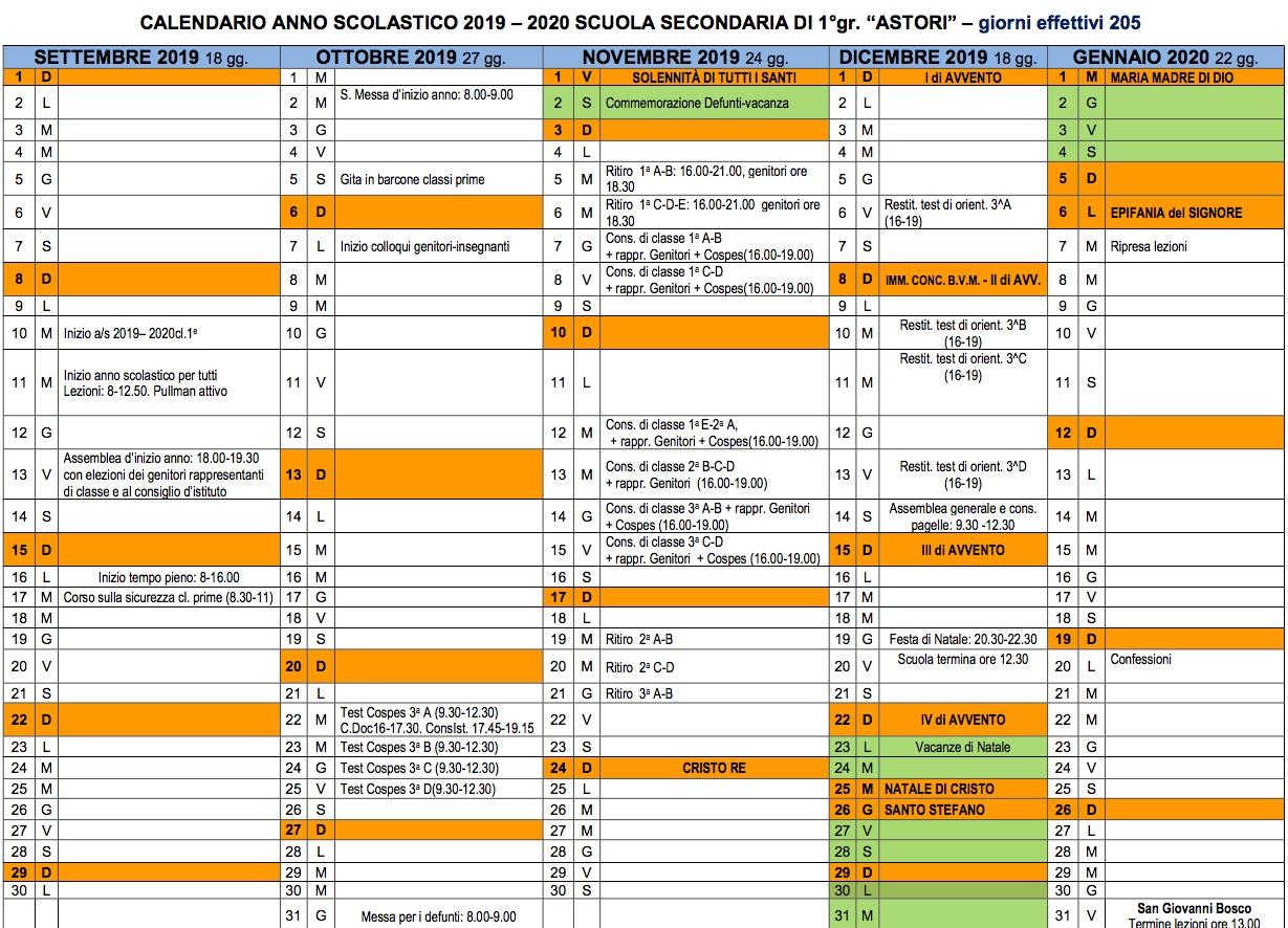 Calendario Classe Prima.Calendario Anno Scolastico Casa Religiosa Collegio