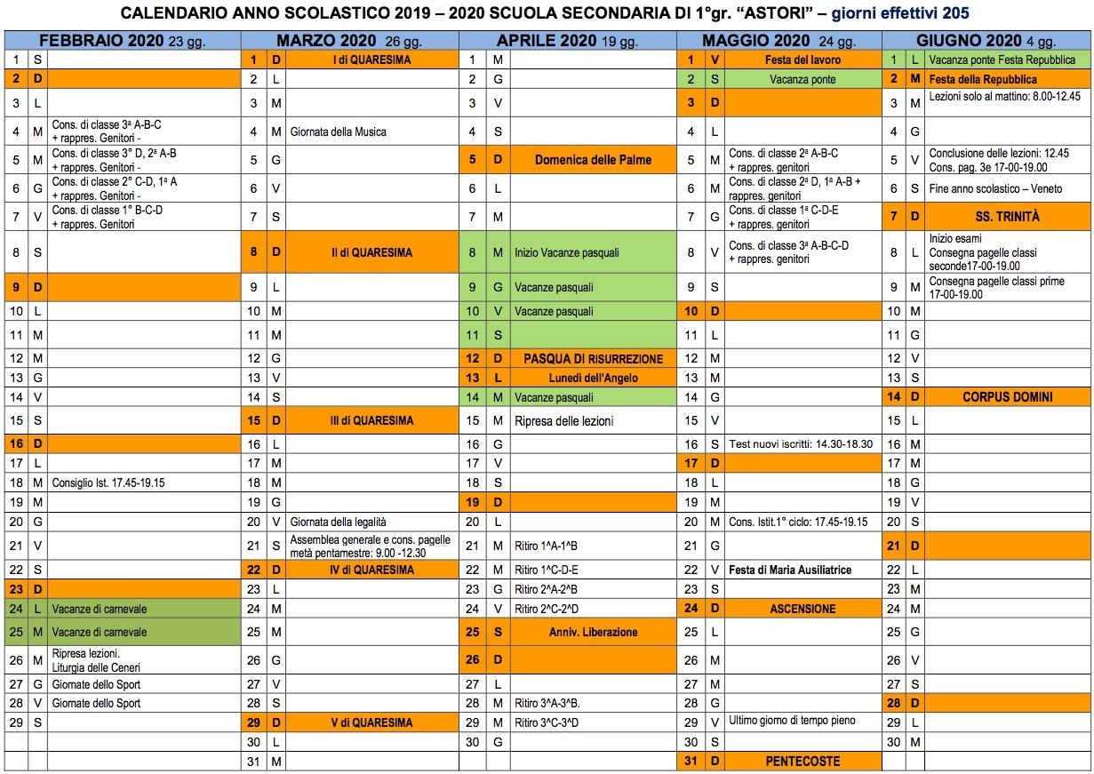 Calendario Scuola Veneto 2020.Calendario Anno Scolastico Casa Religiosa Collegio