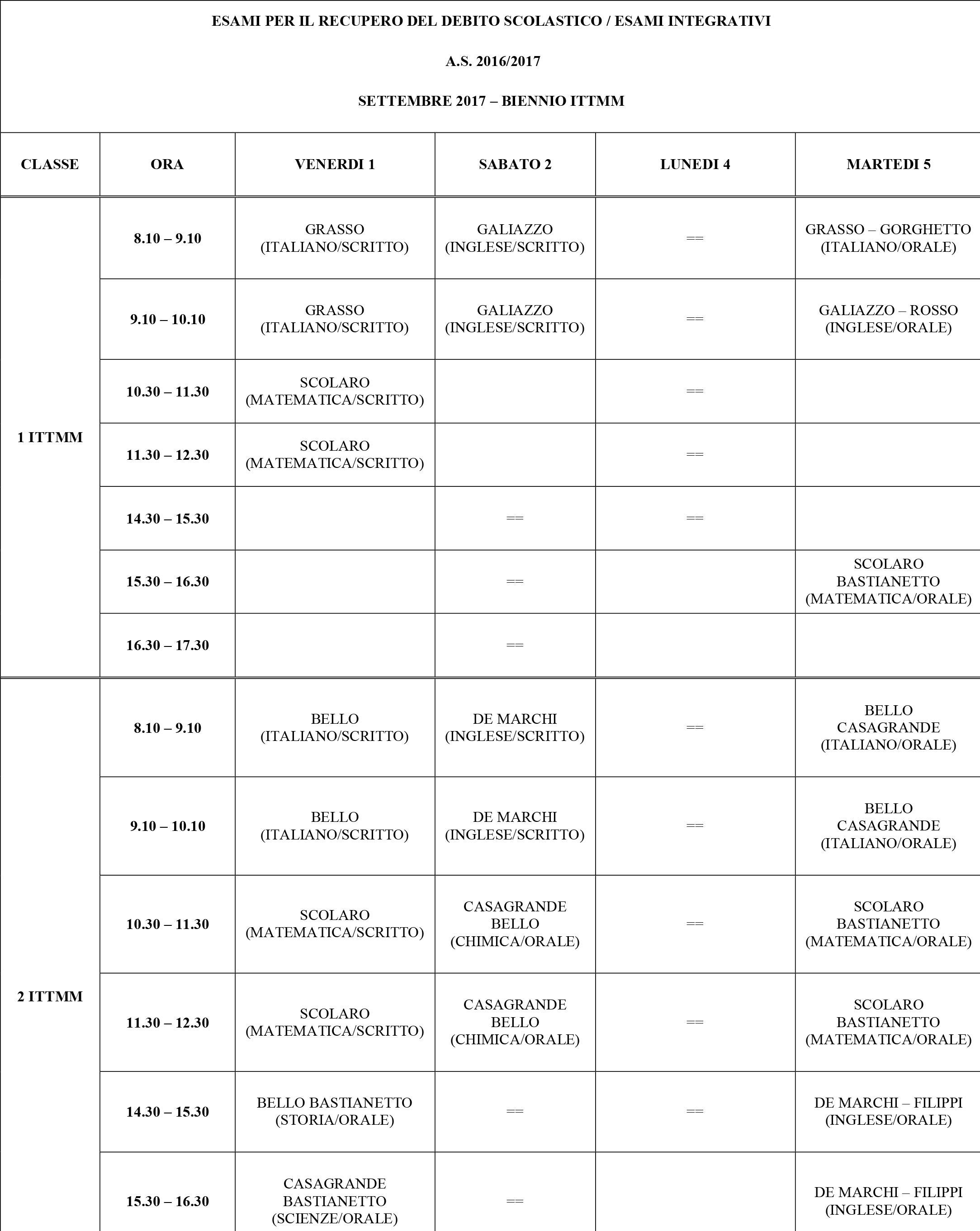 Calendario Esami.Calendario Esami Di Settembre Casa Religiosa Collegio